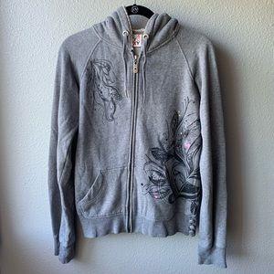 Roxy Sherpa sweatshirt jacket sz M grey pockets
